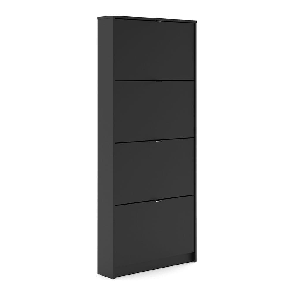 Footwear Shoe cabinet  w. 4 tilting doors and 1 layer in Matt Black